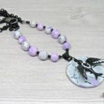 Magpie on a Watercolor Sky – necklace by Paisley Lizard