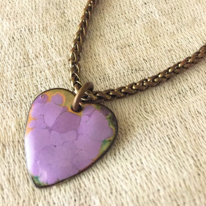 Enameled Heart Charm, detail