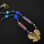 Flowers of Redon brass necklace