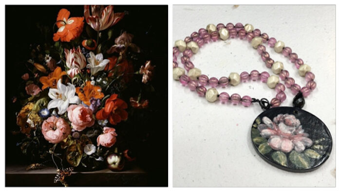 Painting of a black background with colorful red, orange, white and pink flowers in a vase with a butterfly nearby. Next to it is a necklace with a pendant that has a black background a large pink painted flower with green leaves. Pink and off white Czech glass beads make up the necklace strand.