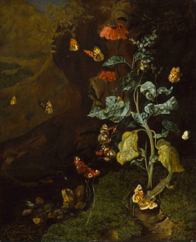 Dark, moody painting of a leafy plant in a wood with moss on the ground. Butterflies are flying all around.