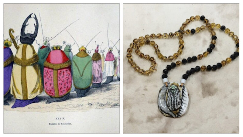 Inspiration illustration on left of bugs standing in line, each in colorful robes. Necklace that inspired on right with ceramic bug pendant in neutral colors of black, white tan and green with strand of black and tan/brown beads on knotted strand. Two light green beads where strand connects to pendant.