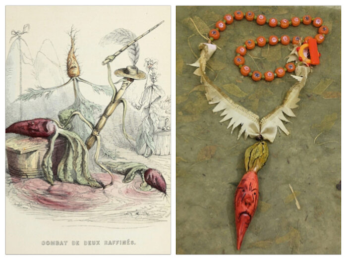 Inspiration illustration on right of vegetables with a beet on the ground and one on an auction or chopping block with a carrot in back with arms outstretched in dismay. Necklace that inspired on right with angry carrot pendant, jaggedly cut ribbon to look like leafy carrot arms, orange beads and an orange glass toggle clasp.