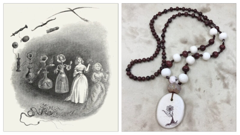 Inspiration illustration in black and white on left shows a flower turning by increments into a woman. Necklace it inspired on right in brown and white with dancing flower pendant and bead, lampwork swirly bead, and brown and white beaded strand.