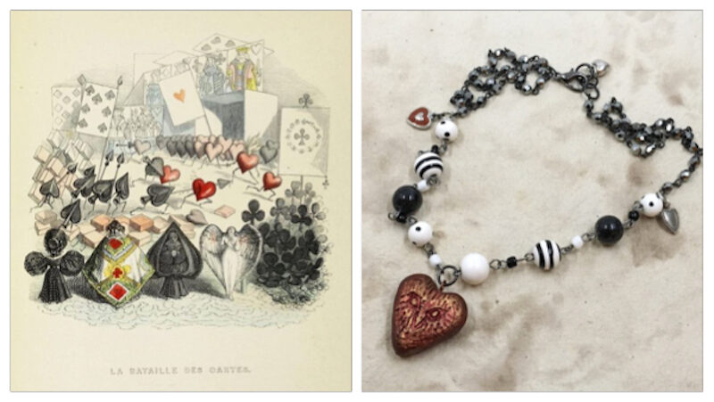 Inspiration illustration on left is different suits of playing cards staged as if suited up for battle. Necklace that inspired on right with red polymer clay heart with owl face, black and white beaded chain and gunmetal chain with different small heart charms where chains connect and at clasp at back.